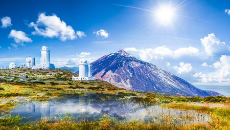 Telescopes of the Izana astronomical observatory on Teide park and Teide Volcano, Tenerife, Canary Islands, Spain  Stok Fotoğraf