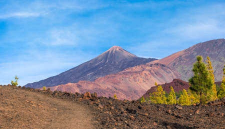 Volcanic mountain Teide and lava desert valley in Teide National Park, Tenerife, Canary Islands