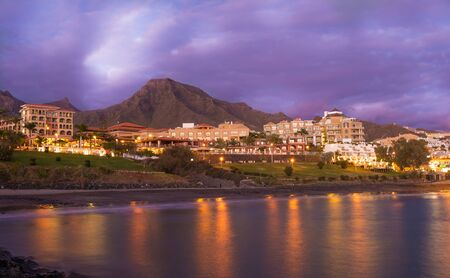 Las Americas Beach at blue hour in Tenerife island – Canary, Spain