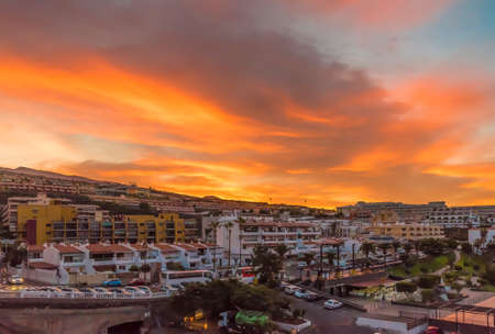Sunrise in Puerto de Santiago city, Tenerife, Canary island, Spain