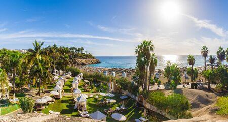 View of El Duque beach at Costa Adeje. Tenerife, Canary Islands, Spain Archivio Fotografico