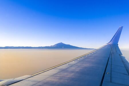 Flying on Tenerife and volcanic mountain Teide in the Teide National Park, Canary islands, Spain. 版權商用圖片