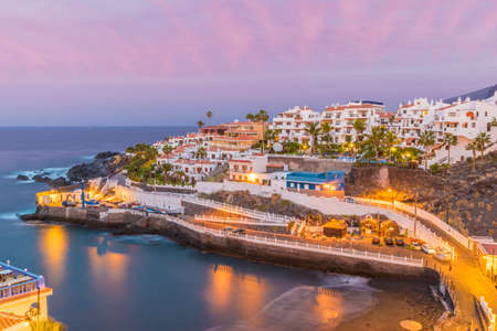 Puerto de Santiago city at twilight time, Tenerife, Canary island, Spain Stockfoto