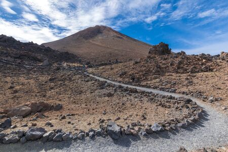 Top of the volcanic mountain Teide at the sunny morning in the Teide National Park, Tenerife, Canary islands, Spain.