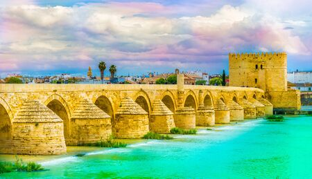Roman bridge and Calahorra Tower in Cordoba, Spain Фото со стока