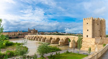 Landscape with Roman bridge and Calahorra Tower in Cordoba, Spain