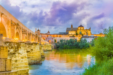 Roman Bridge and Mezquita Cathedral  in Cordoba,  Andalusia, Spain.