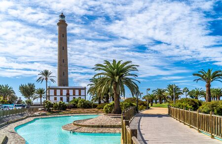 Landscape with Maspalomas Lighthouse, Grand Canary, Spain 版權商用圖片