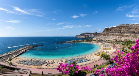 Landscape with Amadores beach on Gran Canaria, Spain 版權商用圖片