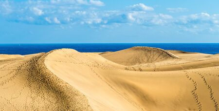 Landscape with golden sand dunes of Maspalomas, Gran Canaria, Canary Islands, Spain 版權商用圖片