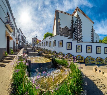 Landscape with famous Paseo de Canarias street on Firgas, Gran Canaria, Canary Islands, Spain
