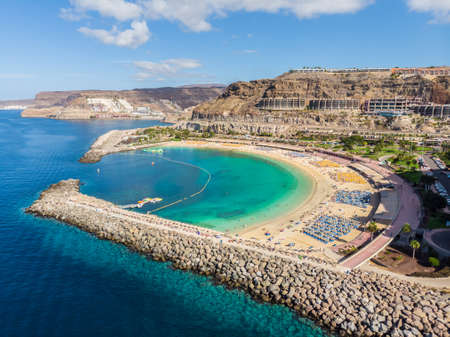 Landscape with Amadores beach on Gran Canaria, Spain Stockfoto