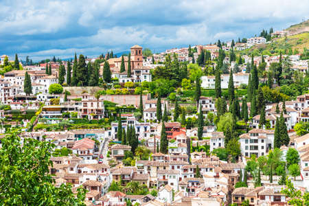 View of the Albaicin (El Albayzin) medieval district of Granada, Andalusia, Spain Stockfoto