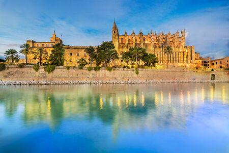Cathedral La Seu at blue time, Palma de Mallorca islands, Spain