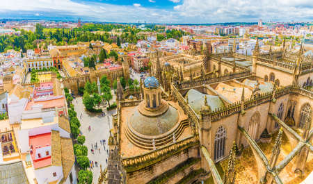 City view from Giralda Tower,  Cathedral de Santa Maria de la Sede, Sevilla, Andalusia, Spain. Stockfoto