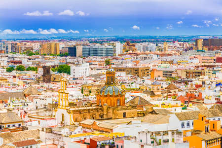 City view from Giralda Tower, Cathedral de Santa Maria de la Sede, Sevilla, Andalusia, Spain.