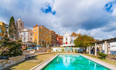 Lisbon, Portugal - March 16, 2018: Santa Luzia Church and Miradouro de Santa Luzia, Alfama region, Lisbon, Portugal