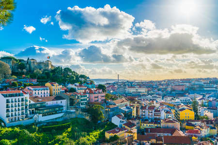 View of Lisbon at sunny day, Portugal
