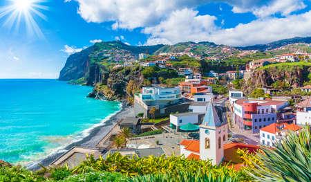 Cityscape panorama of Camara de Lobos, Madeira island, Portugal 新闻类图片