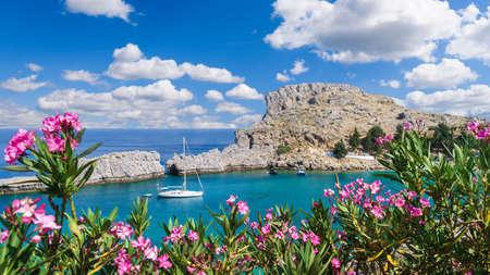 Landscape with Saint Paul's bay, Rhodes, Greece Standard-Bild