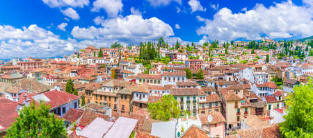 VPanoramic view of the Albaicin medieval district of  Granada, Andalusia, Spain.