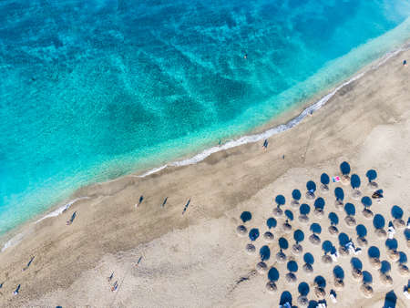 Aerial view with El Duque beach at Costa Adeje, Tenerife, Canary Islands, Spain Stockfoto