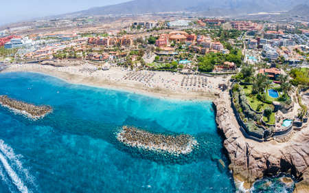 Aerial view with El Duque beach at Costa Adeje, Tenerife, Canary Islands, Spain Redactioneel