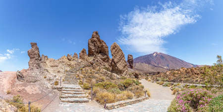 Landscape with Roques de Garcia formation and Teide mountain volcano in Teide National Park, Tenerife, Canary Islands, Spain