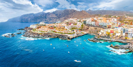 Aerial landscape with Puerto de Santiago city,  Atlantic Ocean coast, Tenerife, Canary island, Spain