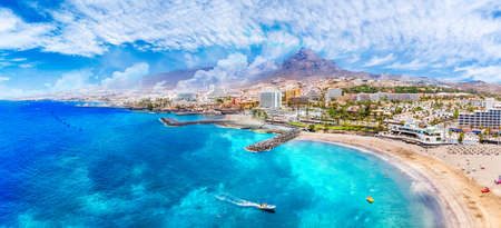 Aerial view with Las Americas beach at Costa Adeje, Tenerife, Canary Stockfoto