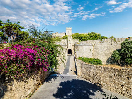 Landscape with d'Amboise Gate and the Palace of the Grand master, in Rhodes Island, Greece Redactioneel