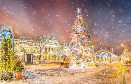 Landscape with Christmas market in Iasi, Moldavia region, Romania