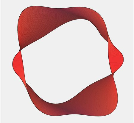nuances: moebius band twisted several times, made from various red nuances  Stock Photo