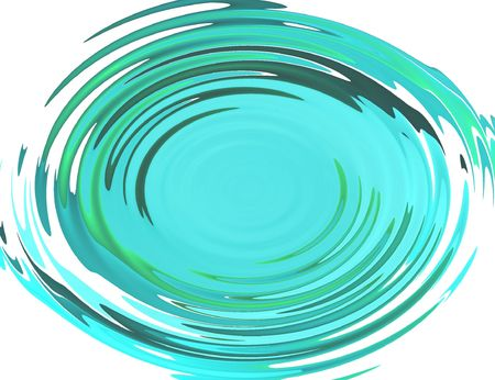 semblance: blue circular waves with reflections from objects