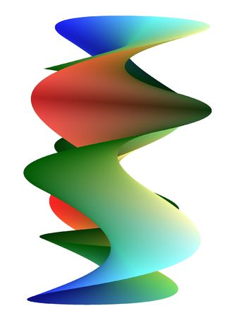 semblance: rainbow moebius in vertical position with color variation of red, green and blue
