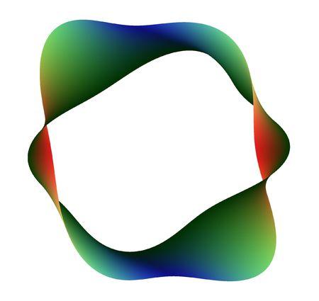 semblance: banda di Moebius intrecciato diverse volte, fatto da diverse sfumature di rosso, verde e blu