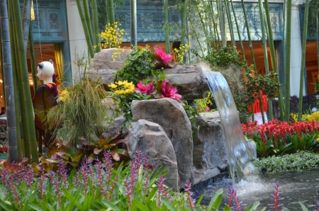 effusion: garden waterfall  Stock Photo