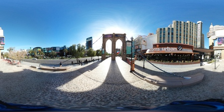 Photography is vacation, fisheye lens and panorama. That marvel has marina, cityscape and suspension bridge and that beauty contains resort, waterway and cinema, movie theater, movie theatre, movie house, picture palace.