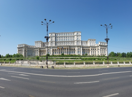 Palace of the Parliament, Romania is sky, palace and daytime. That marvel has landmark, metropolitan area and classical architecture and that beauty contains building, residential area and plaza. Editorial