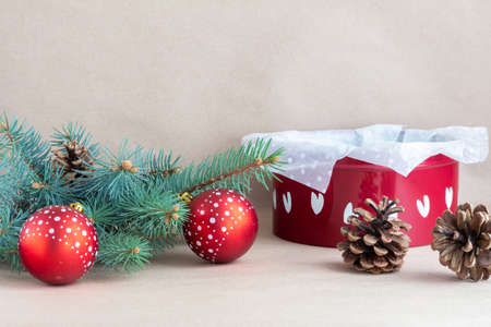 Christmas holiday background with branches and toys Stock Photo