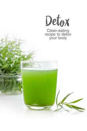 delicious and healthy tarragon drink in a glass on the table