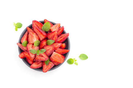 ripe strawberries in a plate on the table Stockfoto