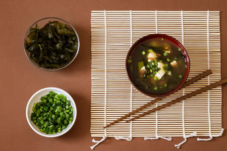 Miso soup as a national Japanese dish Imagens
