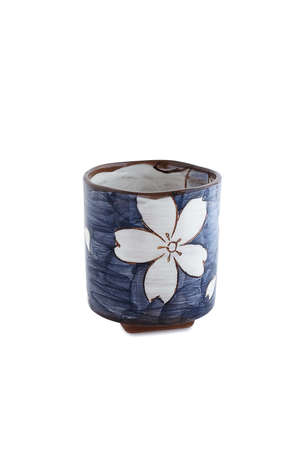 Japanese tea cup on white background