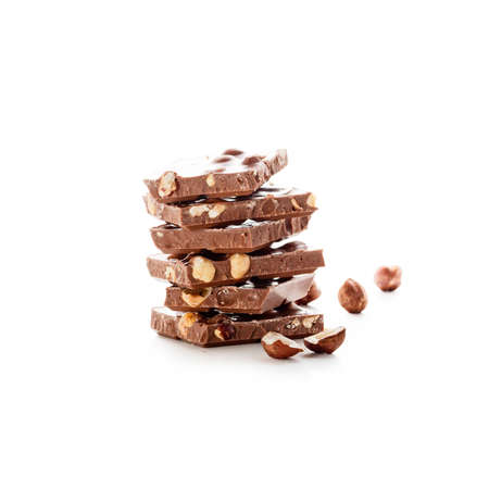 Chocolate pieces isolated on white background Reklamní fotografie
