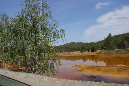 very dirty: Very dirty river with orange water in Karabash