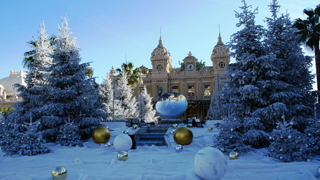 wind down: Winter in Monaco, Monte Carlo, a lot of snow and trees