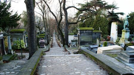 megapolis: Cemetery in Paris, France, tranquil place in winter Stock Photo