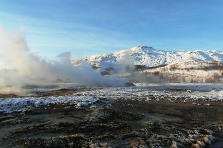Nature of Iceland, waterfall and panoramic view of Reykjavik