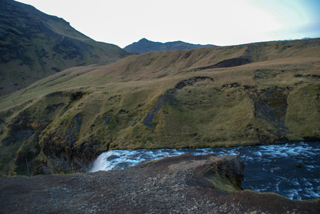 Beautiful mountains and fantastic geysers and waterfalls are popular part of Iceland and icelandic nature. Everything is close to the N1 road and accessable by usual car Stok Fotoğraf